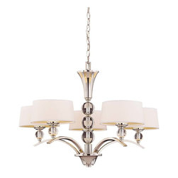 Murren 5 Light Chandelier - A Transitional look, combining the best of Traditional and Contemporary styles, with a cleaner, less ornamented design. The Polished Nickel finish works well with the hardback white fabric shades. This versatile family includes a rod hung three light trestle and an assortment of incredibly unique pendants and bath bars. Weight: 17. 50 lbsFinish: Polished NickelBulb Wattage: 40Shade: WhiteNumber of Bulbs: 5Type of Bulb: G9Number of Arms: 5Bulbs Included: YesSafety Rating: UL, CULVoltage: 120