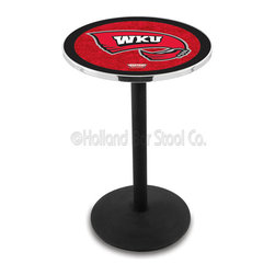 Holland Bar Stool - Holland Bar Stool L214 - Black Wrinkle Western Kentucky Pub Table - L214 - Black Wrinkle Western Kentucky Pub Table belongs to College Collection by Holland Bar Stool Made for the ultimate sports fan, impress your buddies with this knockout from Holland Bar Stool. This L214 Western Kentucky table with round base provides a commercial quality piece to for your Man Cave. You can't find a higher quality logo table on the market. The plating grade steel used to build the frame ensures it will withstand the abuse of the rowdiest of friends for years to come. The structure is powder-coated black wrinkle to ensure a rich, sleek, long lasting finish. If you're finishing your bar or game room, do it right with a table from Holland Bar Stool. Pub Table (1)