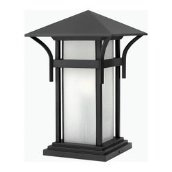 Hinkley Lighting - Hinkley Lighting 2576SK-GU24 Harbor 1 Light Post Lights & Accessories in Satin B - Harbor has an updated nautical feel, with a style inspired by the clean, strong lines of a welcoming lighthouse. The cast aluminum and brass construction is accented by bold stripes against the seedy glass.