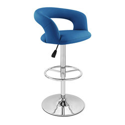 """Zuri Furniture - Blue Monza Swivel Armless Bar Stool - The Monza Bar Stool is an undeniable eye-catcher. Flanked by a high backrest for ultimate support, Monza is super comfortable and luxuriously padded in faux leather. A universal design that is definitely contemporary but has retro styling cues, the Monza can fit in any environment with any decor - ideal in both a modern kitchen or 70s breakfast bar, mixing in effortlessly. Equipped with gas lift mechanism to allow height adjustment and 360 degree swivel, as well as a sturdy circular base with rubber floor protector. Available in two tone and solid colors. Weight capacity of 275 lbs. Base Diameter - 18"""". Overall: 23 inch(W) x 19 inch(D) x 40 inch(H) Seat: 15 inch(W) x 16 inch(D) x 11 inch(H)"""