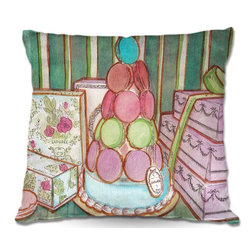 DiaNoche Designs - Pillow Woven Poplin - Diana Evans Laduree Window Shopping I - Toss this decorative pillow on any bed, sofa or chair, and add personality to your chic and stylish decor. Lay your head against your new art and relax! Made of woven Poly-Poplin.  Includes a cushy supportive pillow insert, zipped inside. Dye Sublimation printing adheres the ink to the material for long life and durability. Double Sided Print, Machine Washable, Product may vary slightly from image.