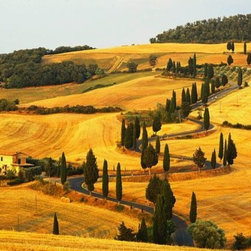 Wallmonkeys Wall Decals - Italian Countryside of Val D'orcia Wall Mural - 72 Inches W x 48 Inches H - Easy to apply - simply peel and stick!