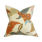 """The Pillow Collection - Xelomina Floral Pillow Brown 18"""" x 18"""" - Get ready for the autumn season by enhancing your interiors with this fall-inspired throw pillow. The visually interesting floral pattern comes in a variety of warm hues like brown, blue, orange, yellow and white. Toss this square pillow together with solids and other patterns for an extra dimension. Crafted with 100% Hidden zipper closure for easy cover removal.  Knife edge finish on all four sides.  Reversible pillow with the same fabric on the back side.  Spot cleaning suggested."""