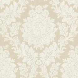 Brewster Home Fashions - Liza Beige Roselle Damask Wallpaper. - Bring the softness of beige and white to your home with a glorious damask printed wallpaper. Brilliance and ease protrude from this elegantly designed print.