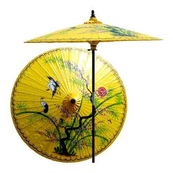 Oriental Unlimted - Asian Splendor Patio Umbrella in Sunburst Yel - Choose Base: NoneHandcrafted and hand-painted by master artisans. 100% Waterproof and extremely durable. Umbrella shade can be set at 2 different heights, 1 for maximum shade coverage and the other for a better view of the shade. An optional base, which secures the umbrella rod and shade against strong winds and rain. Patio umbrella rod and base is constructed of stained oak hardwood for a rich look and durable design. Umbrella shade is made of oil-treated cotton. Minimal assembly required. Canopy: 76 in. D x 84 in. HThis one-of-a-kind patio umbrella is completely handcrafted with a beautiful hand-painted design of an Asian landscape on top.
