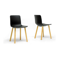 Wholesale Interiors - Lyle Black Plastic Modern Dining Chairs, Set of 2 - Wow - what is this - a contemporary dining chair that doesn't cost an arm and a leg? Count me in for two - no, make that four! Our Lyle Modern Dining Chair has a sleek, minimalist black molded plastic seat that calls for equally sleek legs but the thick, unrefined wooden dowel legs are a unexpected, delightful feature. The legs, which must be bolted to the seat bottom after unpacking, are finished off with non-marking feet. This Chinese-made designer dining chair should be wiped clean with a damp cloth. If black isn't your thing, you're in luck: a white seat variation of this style is also available (sold separately). Product Dimension: 18.5 inches W x 19 inches D x 31 inches HSeat Dimension: 18.5 inches W x 16 inches D x 18 inches H.