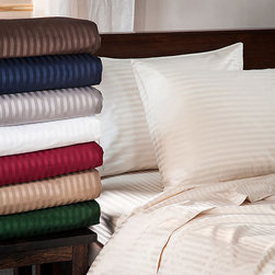 None - Egyptian Cotton 400 Thread Count Stripe Pillowcases (Set of 2) - Give your boudoir an air of hotel-chic with these Egyptian cotton pillow cases. These 400-thread count sheets,available in colors like ivory and gray,are incredibly soft to the touch and feature a striped detail that gives them a bit of stylish edge.