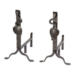 Stone County Ironworks Leaf Andirons - 2 Piece Set - The Stone County Ironworks Leaf Andirons - 2 Piece Set prevents logs from rolling out of the fireplace. Functionally designed, these andirons make it east to load wood, while keeping the logs away from the burning embers beneath. As they are made from hand-forged metal, these andirons are tough enough to withstand the heat, without cracking. In addition, the intricate motif, with the leaf detail, enhances this set's visual appeal.