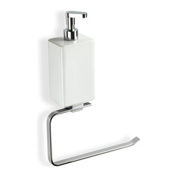 StilHaus - Chrome Towel Holder With White Soap Dispenser - Looking to free up some of that bathroom counter space? Add this piece by StilHaus! This is a wall mounted towel ring with an included soap dispenser. It is made from brass and ceramic and looks perfect in the modern bathroom. Towel ring with soap dispenser. Made from high quality brass. Comes in shiny chrome finish. Modern style. Made and designed in Italy by StilHaus.