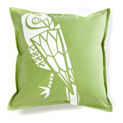 Working Class Studio - Cassie Outdoor Pillow - Owl - Gecko - It's a wise move to toss this owl pillow into your favorite outdoor setting. Not only is the print intriguing, the fabric is rugged enough for any weather yet feels comfy, too.