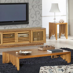 Furnitech - Signature Home Coffee Table Set - Features: -Signature Home Collection. -Warm Honey finish. -Solid Brazilian cherry wood construction. -3 Year warranty limited.