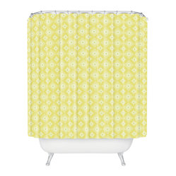 Caroline Okun Yellow Spirals Shower Curtain - You'll be walking on sunshine every morning with this shower curtain. Custom printed on woven polyester, yellow concentric circles overlap against an ivory background, adding cheerful color and fun pattern to any bathroom in your house.