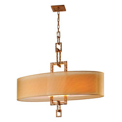 """Troy Lighting - Troy Lighting F2878 Link 4 Light Linear Chandelier - Troy Lighting F2878 Link 4 Light 41"""" High Drum PendantThe Link Collection of fixtures features handsome organza shades and decorative links of Bronze Leaf chain.Troy Lighting F2878 Features:"""