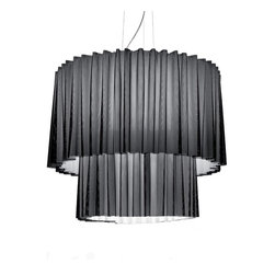 Axo - Skirt SP 150 2 suspension light - The two-tier Skirt SP 150 2 suspension light collection has a curtain lampshade. The fabric, TREVIRA® CS, is fireproof and composed of two overlapping layers, an exterior black net with an interior fabric available in 9 colours: orange, red, fuchsia, dark brown, blue, light blue, light green, light grey, neutral white. Also available in one-layer fabric in the same 9 colours, without the black net.