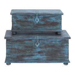 Trunk Antiqued Design with Faded Blue Paint - Set of 2 - Recreate the breathtaking experience at your home with the Antique Pair of Wooden Trunks. Flaunting an antique finish complete with fading blue paint, this pair is sure to turn the decor of your house on its head and give it a desirable, cozy touch. If rustic is in your design sense, then these trunks are sure to appeal to you with their old world-style wooden legs, skirting at the base, metal supports at the corners and the large metal latch. The flat tops of these trunks mean that you can use them for placing flower pots or any other showpieces. You can store all kinds of stuff within these spacious trunks. While these can be used for storage, you can even stack the smaller trunk above the larger one and keep it in a corner to attribute a dated and rustic look to your room. These trunks are sturdy and long lasting in use. It comes with following dimensions: