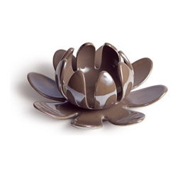 Danya B - Lotus Flower Shaped Pearl Porcelain Decorative Candleholder, Brown - This gorgeous Lotus Flower Shaped Pearl Porcelain Decorative Candleholder, Brown has the finest details and highest quality you will find anywhere! Lotus Flower Shaped Pearl Porcelain Decorative Candleholder, Brown is truly remarkable.
