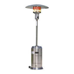 Paramount - Stainless Steel Full Size Propane Patio Heater - Give your evenings added warmth and sleek styling with this stainless steel patio heater. Putting out 46,000 BTUs this heater will heat your outdoor space making anytime of year comfortable. Featuring wheels for easy transportation, it is simple to set up and uses a standard 20lb propane tank  (not included). A stainless steel burner and grid makes this patio heater easy to clean and maintain. This CSA approved patio heater also includes tip-over protection for added safety and security.