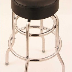 """Holland Bar Stool - Cambridge 001 Swivel Bar Stool - This style stool has been around for years and still looks as good as ever before. This traditional double ring chrome swivel stool incorporates a generously padded 4"""" black vinyl seat for excellent comfort. You will not find a better quality double ring stool on the market than you will with this Cambridge 001 model. Features: -Cambridge collection. -Metal finish: Chrome. -Seat type: Black vinyl. -Baked on, epoxy-polyester powder coat provides durable and long lasting finish.. -Manufactured from high quality plating grade steel. -Solid welded and commercial construction. -Made in the USA. -Manufacturer provides lifetime warranty on swivel and one year residential warranty that covers any structural defects. -Seat height: 30""""."""