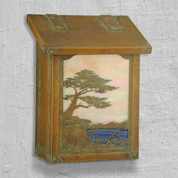 """Monterey Cypress Vertical Wall Mounted Mailbox - Known as the """"Lone Cypress"""" along the shoreline of Monterey this beautiful design will be the talk of the neighborhood. Select one of our many hand applied patina finishes and complete the design. Handmade of solid brass the vertical design of this mailbox is perfect for mounting in a narrow space. It has a traditional hinge detail on the lid and a rubber bumper inside to eliminate any noise when closing. The corner rivets complete the design and give this mailbox it's rugged handcrafted look. Easy to mount and a wonderful addition to your front entry this Monterey Cypress mailbox design will be a delight for years to come. As with all America's Finest products it carries our lifetime warranty."""