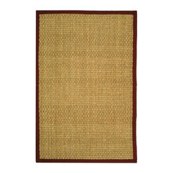 Safavieh - Natural Fiber Traditional Rug (8 ft. x 5 ft.) - Size: 8 ft. x 5 ft. Power loomed. Hand-woven. Soft and durable. Made from sisal and natural sea grass. Natural and red color. This densely woven rug will add a warm accent and feel to any home. The 100-percent cotton canvas backing adds durability. Care Instructions: Vacuum regularly. Brushless attachment is recommended. Avoid direct and continuous exposure to sunlight. Do not pull loose ends; clip them with scissors to remove. Remove spills immediately; blot with clean cloth by pressing firmly around the spill to absorb as much as possible. For hard-to-remove stains professional rug cleaning is recommended.