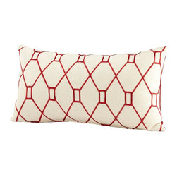 Cyan Design - Cyan Design Obstruction Pillow X-42560 - A simple lattice-style pattern adorns the face of this Cyan Design decorative pillow. From the Obstruction Collection, this beautiful pillow features a warm, cream colored backdrop paired with a simple pattern done in an eye-catching shade of red.