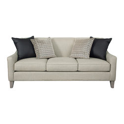 Lauren Sofa - This group features a tight back, tailored sloped arms, and a shaped side profile. The high tapered legs are available in multiple finish options.