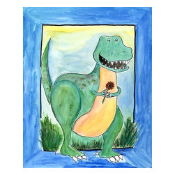 """Oh How Cute Kids by Serena Bowman - Summertime Dino, Ready To Hang Canvas Kid's Wall Decor, 20 X 24 - """"Summer Time with T-rex""""  Everyone loves summertime-  The softer side of T-rex. Enjoy the summer!  This silly, sweet picture is part of my dinosaurs series."""