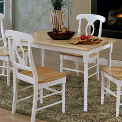"Coaster - Dining Table in Natural/ White - Natural solid wood 30""x48"" rectangular butcher block farm house table with white legs.; Country Style; Finish: Natural/ White; No assembly required.; Dimensions: 48""L x 30""W x 29""H"
