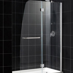 """DreamLine - DreamLine Aqua Frameless Hinged Shower Door and SlimLine 32"""" by 60"""" - A shower kit from DreamLine delivers a complete solution for a bathroom remodel or tub-to-shower conversion project. This kit combines an AQUA shower door with a coordinating SlimLine shower base. The AQUA shower door stands out with a striking curved silhouette, while the full length wall profile provides an easy installation. A SlimLine shower base completes the transformation with a modern low profile design. Items included: Aqua Shower Door and 32 in. x 60 in. Single Threshold Shower BaseOverall kit dimensions: 32 in. D x 60 in. W x 74 3/4 in. HAqua Shower Door:,  48 in. W x 72 in. H ,  1/4 (6 mm) clear tempered glass,  Chrome or Brushed Nickel hardware finish,  Frameless glass design,  Out-of-plumb installation adjustability: Up to 1/4 in. one side,  Hinged door and stationary side glass panel,  Solid brass hinges,  A convenient towel bar on the outside panel,  Stationary panel: 23 11/16 in.,  Reversible for right or left door opening installation,  Material: Tempered Glass, Aluminum,  Tempered glass ANSI certified32 in. x 60 in. Single Threshold Shower Base:,  High quality scratch and stain resistant acrylic,  Slip-resistant textured floor for safe showering,  Integrated tile flange for easy installation and waterproofing,  Fiberglass reinforcement for durability,  cUPC certified,  Drain not included,  Center, right, left drain configurationsProduct Warranty:,  Shower Door: Limited 5 (five) year manufacturer warranty ,  Shower Base: Limited lifetime manufacturer warranty"""