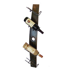 2 Day Designs - 4 Bottle Tilt - Four Wrought iron wine bottle holders on a wide recycled wine stave.  Holds wine bottles at the perfect angle for storage and display.  Easily mounted on your wall.