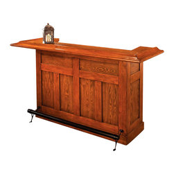 Hillsdale Furniture - Classic Home Bar w Black Footrest - This stylish solid oak bar will make a great focal point in any setting. This bar comes with a foot rail, wine storage for up to 12 bottles and cabinets and drawers in the back for storage. There is also a dry sink and four garnish trays making this the perfect bar for any home. Save $400 on the Classic Oak Large Bar and set yourself up with a versatile serving center that�۪s both handsome and durable. Lustrous footrest on the front panel adds to the stylish good looks. * Wine rack accommodates 12 bottles. Cabinets & drawers for additional storage space. Constructed of durable Oak and Oak veneers. Black footrest. Pictured in Medium Oak finish. Some assembly required. 78 in. L x 26.5 in. W x 42.75 in. H (294 lbs.)The Classic Medium Oak Large Bar dresses up any decor. Constructed with solid hardwood and Medium Oak veneers. This bar is charming enough for home use and durable enough for commercial use. Offers plenty of space for all your glassware, supplies, and consumables