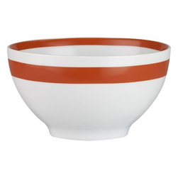 "Orange Stripe 6"" Bowl - In a refreshing color combination for the dining room, these would look neat stacked in a buffet behind glass doors."