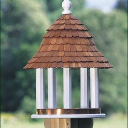 "Lazy Hill Large Shingled Feeder - Large feeding area attracts more birds. Copper band helps contain seed. It is crafted in solid cellular vinyl and painted white.  24"" H. 17"" dia."
