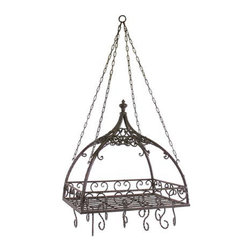Vintage French Pot Rack with Hooks - *Traditional wrought iron domed pot rack with hooks features open metal-work design.