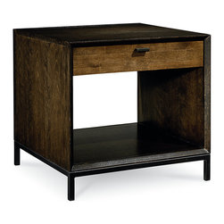 Kateri End Table, Stunning Hazelnut - A rustic contemporary addition to the living space, this end table features streamlined style and a warm hazelnut finish. With one drawer ideal for storing remote controls or other accessories and one open shelf perfect for a favorite vase or series of books, this end table is eminently advantageous. A custom-designed, bronze-finished drawer pull completes the look of this fashionable end table. With charm and allure, this end table is certain to please.