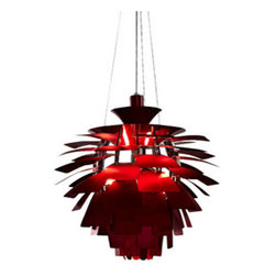 "LexMod - Petal 28"" Chandelier in Red - Petal 28"" Chandelier in Red - Elevate the heart and uplift the mind in a liberated release of light. The Petal Lamp is a study in perception stemming from the inner recesses of the soul. Reflect limitless possibilities and shower abundance as you diffuse light pleasantly with a striking classic for all times and settings. Set Includes: One - Petal 28"" Chandelier For home or commercial use, Brushed aluminum petals, Light source hidden at center , Diffusion of light without glare, Cords adjustable to varied lengths , Three 60 watt light bulbs (Not Included) Overall Product Dimensions: 28""L x 28""W x 33.5""H Maximum Cord length: 60""L - Mid Century Modern Furniture."