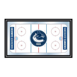 Trademark Global - Framed Hockey Rink Mirror w NHL Vancouver Can - Great for gifts and recreation decor. Mirror with print. Black wrapped wood frames. 26 in. W x 15 in. H (10 lbs.)This National Hockey League Officially Licensed Hockey Rink Wall Mirror is the perfect gift for the Hockey Fan in your life.