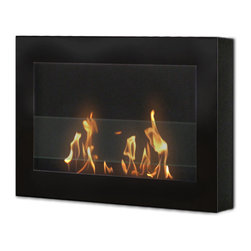 Anywhere Fireplace - SoHo Indoor Wall Mount Fireplace - Black - The clean, geometric, sophisticated design of the wall mount SoHo model of the Anywhere Fireplace is a stunning addition to any room. It works with any decor. The warm glow created by the dancing flames of the fire will create atmosphere anywhere you wish to hang it  living room, bedroom, family room, dining room, anywhere. Very easy to install on any wall and mounting hardware is included USES Bio-ethanal LIQUID FUEL