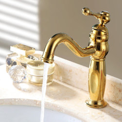 Trunk Classic Style Single Hole Sink Faucet Gold - The Trunk single hole sink faucet features convenient single handle operation and fits comfortably in many decors. Constructed from solid brass for durability and reliability, finished in high quality Ti-PVD Gold.