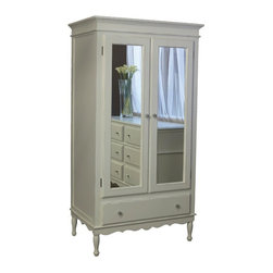 Newport Cottages Celine Armoire with Mirrored Doors - A stately armoire has always been on my wish list, and the mirrored doors and scalloped edging on this one have won me over.