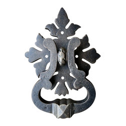 "Teton Iron - Roman Acanthus Door Knocker, Oil Rubbed Bronze - The Roman Acanthus ring pull/ door knocker is a artistic design with Roman Acanthus leaf details, the bold stirrup shaped ring makes this item one of our customers favorites. This ring pull/ door knocker is compliments Tuscan, French country, cottage, Neo classical, Romanesque, Renaissance, German, Rocco, Victorian, Queen Anne, and even can blend with Mediterranean styles. The dimensions are 5 1/4"" tall x 4 1/4"" wide stirrup ring x 5 1/2"" x 6 1/2"" back plate 7 3/4"" overall height 1 1/2"" overall standoff, mounting screws included."
