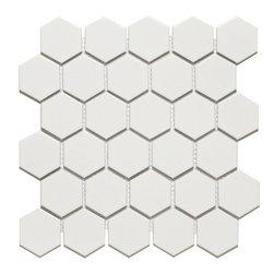 Hexagon Mosaics , White - Ceramic, 2 Inch, Glazed - Sold per Square Foot