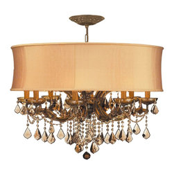 Crystorama - Crystorama Brentwood Chandelier X-STG-GHS-BA-9844 - This isn't your Grandmother's crystal. The Brentwood Collection from Crystorama offers a nice mix of traditional lighting designs with large tailored encompassing shades. Adding either the Harvest Gold or the Antique White shade to these best selling skus opens the door to possibilities for these designer friendly chandeliers. The Brentwood Collection has a touch of design flair that will work for your traditional or transitional home.