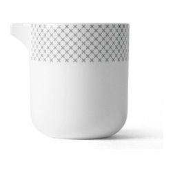 MENU - Gray Stitch Milk Jug - When everyday objects are impeccably designed, they bring pleasure to the simplest acts. Case in point, this porcelain milk jug: With its appealing shape and cross-stitch-inspired border, it lends classic style to your table.