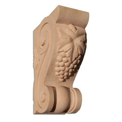 "Inviting Home - Santa-Monica Medium Wood Bracket - Cherry (B15MCH/cg7) - wood bracket in cherry 7""H x 4-3/4""D x 2-3/4""W Corbels and wood brackets are hand carved by skilled craftsman in deep relief. They are made from premium selected North American hardwoods such as alder beech cherry hard maple red oak and white oak. Corbels and wood brackets are also available in multiple sizes to fit your needs. All are triple sanded and ready to accept stain or paint and come with metal inserts installed on the back for easy installation. Corbels and wood brackets are perfect for additional support to countertops shelves and fireplace mantels as well as trim work and furniture applications."