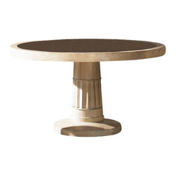 Tommy Bahama Home - Tommy Bahama Road To Canberra Bells Beach Dining Table - Tommy Bahama Home - Dining Tables - 010542870C - The featured design element is an inset radial pattern of woven lampakanai under special ultra-clear glass. The pedestal base showcases an interesting carving yet provides ample room for comfortable fellowship after the meal.