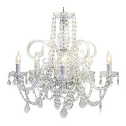 The Gallery - Crystal Chandelier Lighting - Turn on the charm with this classically designed crystal chandelier that reflects the centuries-old artistry of Venetian glassmakers. You can order one or, for your great hall, a set of 10.