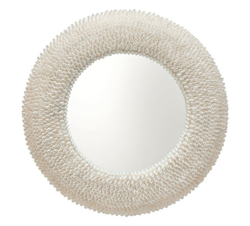 Kouboo - Round Bubble Seashell Wall Mirror - Bring the beauty of the beach home with this bubble shell framed round mirror. With this elegant wood-based mirror on your wall, your entire decor will feel peaceful and at ease.
