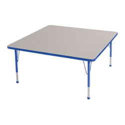 ECR4KIDS - ECR4KIDS Square Adjustable Activity Table - ELR-14117-GRD-TB - Shop for Chairs from Hayneedle.com! Designed for educational settings or craft rooms the Early Childhood Resources Square Adjustable Activity Table is built to last. The versatile square shape is ideal for spreading out art projects and other educational activities and it will seat up to 8 kids. This durable table is made with thick recycled particleboard and is laminated on both sides which provides a stain-resistant and easy-to-clean surface. The corners are rounded for safety and the smooth edge banding is available in your choice of popular kid-friendly colors. This safe non-toxic table will not fade or discolor. The adjustable metal legs are powder-coated on top and chrome-plated on the bottom with matching ball glides for feet. The table can also be adjusted in height to fit children of a specific age or grade. The table adjusts 15-23 inches high or adjusts 19-30 inches high. Both table options carry a seven-year manufacturer's warranty. Chairs are sold separately. Adult assembly is required. Tabletop Details: Gray laminate tabletop is laminated on both sides and measures 1.125 inches thick. Table substructure is made from medium-density particleboard that is at least 90% recycled (minimum 4% post-consumer balance pre-consumer). Bright color banding is available in a variety of popular classroom colors. Color banding grips into the tabletop edges and is pinned in place every 6-8 inches with recessed nails to ensure that the banding remains firmly in place. Color banding is made from PET and contains no phthalates. Rounded corners for extra safety. EPP certified CARB compliant and may contribute to U.S. Green Building Council's LEED Credits MR 4.1 and 4.2. Leg Details: Durable powder-coated paint on upper leg. Color matches the banding. Chrome-plated adjustable lower leg insert. Legs are adjustable in 1-inch increments Threaded adjustment holes in lower leg keep legs securely in place. Co