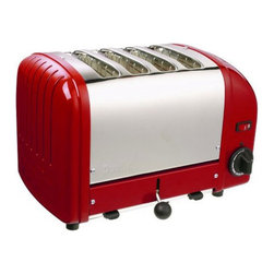 Dualit - Dualit 40417 Vario 4 Slice Classic Toaster-Red Multicolor - 40417 - Shop for Toasters from Hayneedle.com! The Dualit 40417 Vario Classic 4 Slice Toaster in a bold red finish is specially designed for the demands of commercial use. It is hand-assembled in England and built to last with an insulated stainless steel body variable controls and automatic turnoff. Complete with extra-wide 28mm slots to accommodate a Sandwich Cage award-winning ProHeat elements and a patented design that increases toasting efficiency and element longevity. This Dualit toaster features switches to control the degree of browning and an ejector system which means that the toast does not pop up but stays warm until the ejector lever is pushed up. The Sandwich Cage which has a built-in drip tray can be purchased as an optional accessory. Additional Information:Measures 14L x 8W x 9H inchesMade in England About DualitFrom the first flip-sided toaster in 1946 through the steady growth of a commercial product range in the 1950s and 60s to its explosion onto the consumer market in the late 70s Dualit has remained true to its founder Max Gort-Barten s original vision. A company with a clear set of values Dualit remains focused on high quality well-engineered products a hard-won reputation amongst professional chefs and a loyal and family-orientated workforce. Dualit continues to grow by remaining true to the same spirit of invention entrepreneurship and gut instinct and by identifying what its customers need by fulfilling that need and by exceeding their expectations.